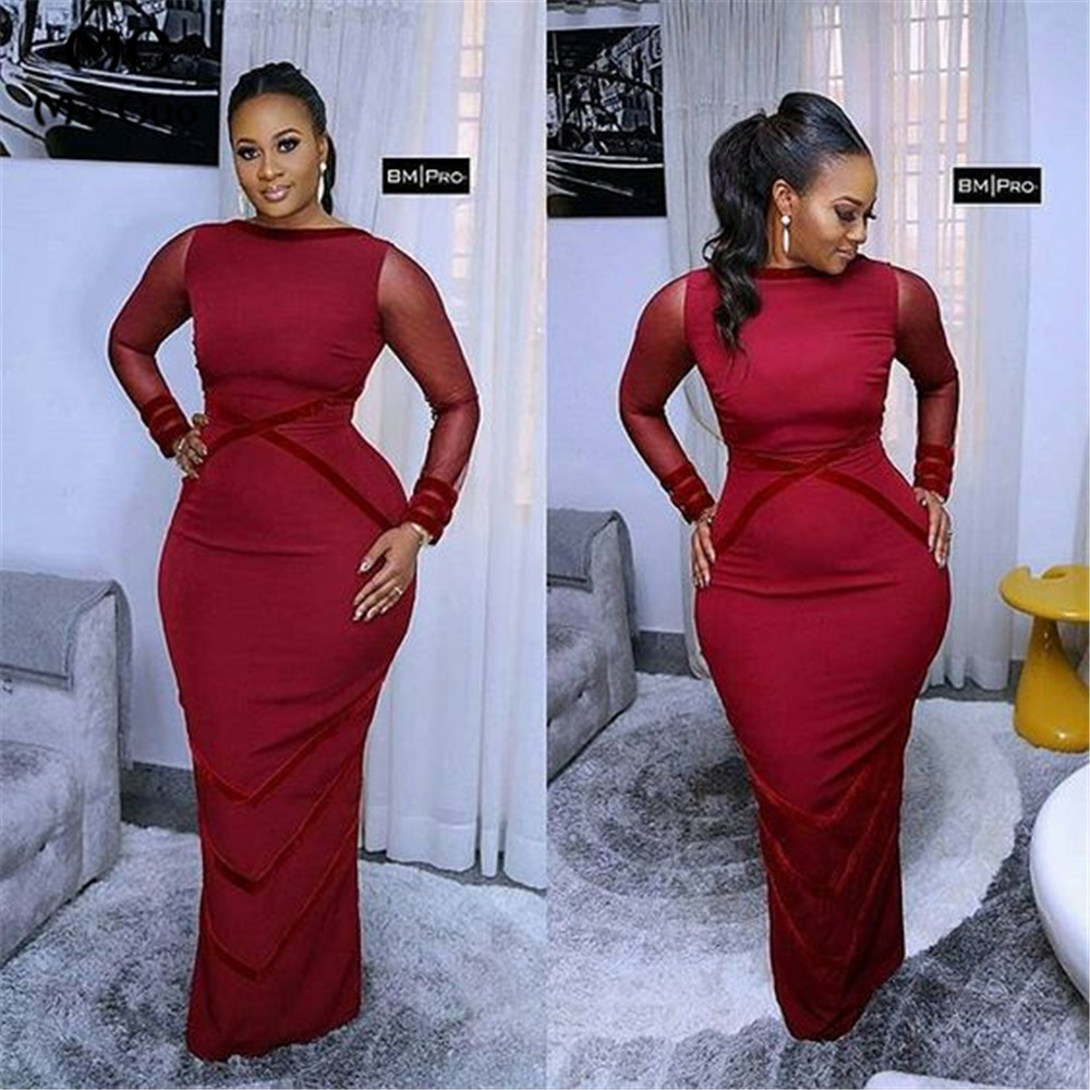 Wine Red In Stock Mermaid Evening Dress Long Sleeves Prom Dresses Long Floor Length Elastic Satin Formal Evening Party Dresses