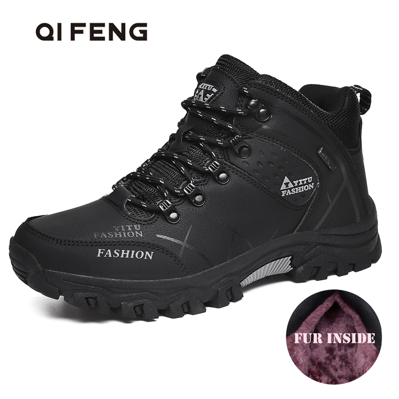 Winter Warm Hiking Shoes Men Outdoor Leather Black Casual Shoes Fur Sneakers High Top Rubber Ankle Boots Male Snow Trekking Man|Hiking Shoes| |  - title=