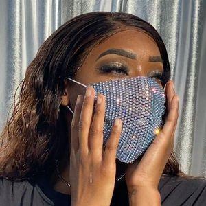 Новинка 2020, роскошная мистическая черная сетчатая вуаль, стразы, ювелирная маска для женщин, украшение из кристаллов, маска для выпускного в...
