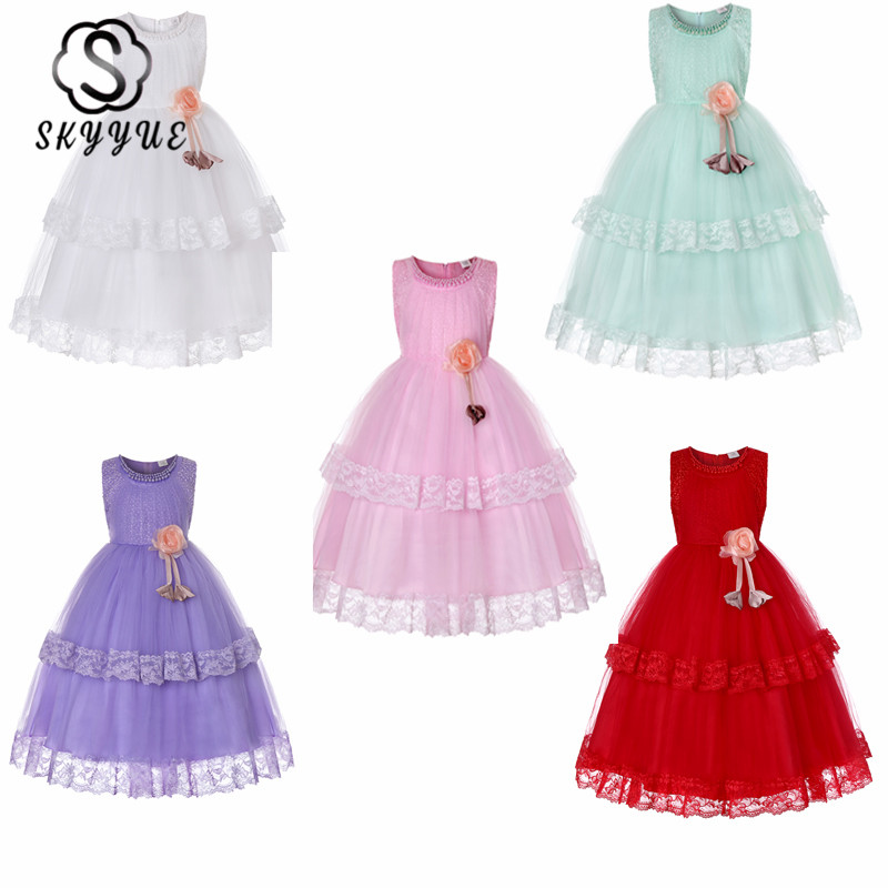 Skyyue Flower Girl Dress for Wedding Flowers Appliques Tulle Tank Ball Gown Long Kids Party Communion Dresses Princess 2019 3001