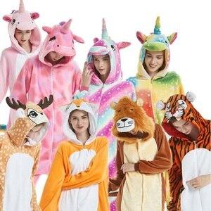 Пижамы с капюшоном для взрослых, пижамы с животными, комплекты одежды для сна с рисунком единорога, пижамы кигуруми для женщин и мужчин, флан...