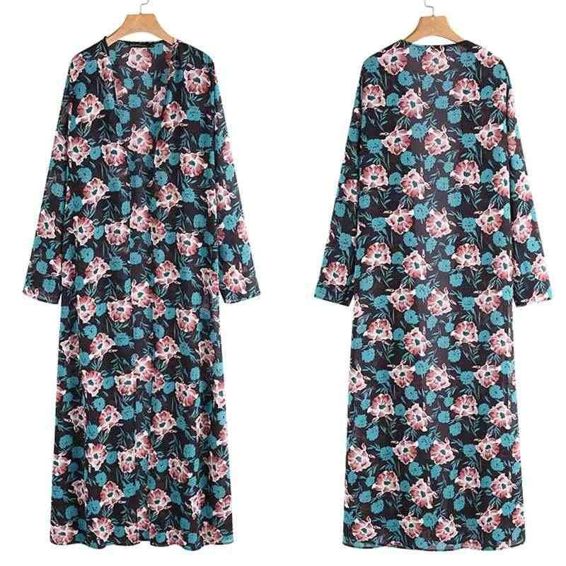 2020 Zanzea Vrouwen Zomer Blouse Overhemd Strand Lange Mouwen Open Voorzijde Cover-Up Bloemenprint Lange Maxi Kimono Vest plus Size