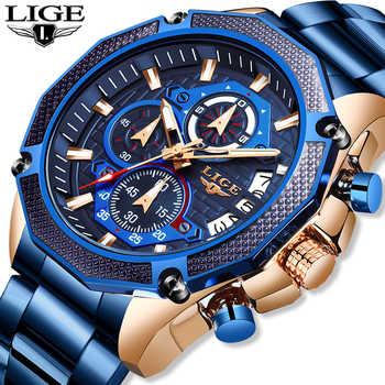2019 LIGE Neue Top Luxus Marke Herren Uhr Quarz Männlichen Uhr einzigartige Sport Uhr Männer Wasserdichte Voll Stahl Armbanduhr
