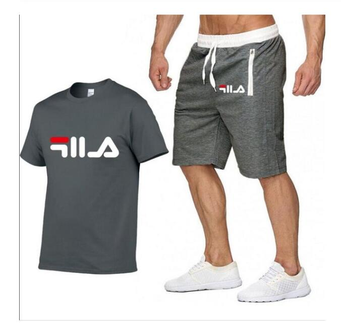 2019 Brand Summer Sportswear Men Running Set Jogging Sport Tracksuit Fitness Suits Quick Dry Men T Shirt+Shorts Gym Sports Sets