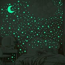 Étoiles lune fluorescente Stickers muraux enfants chambre salon lumineux mur autocollant artistique Conception Pegatinas