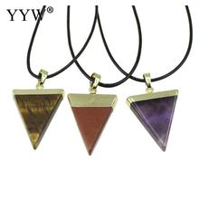 Natural Necklace With Pu Leather Triangle Plated Nickelace Trendy Jewelry Chain Triangle Pendant Jewelry Necklace metal triangle pendant necklace