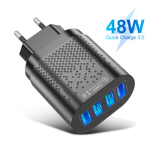 Quick Charge 3.0 USB Charger 4 Ports Fast Charging Wall Mobile Phone Charger For iPhone Samsung Xiaomi US EU Plug Adapter quick charger 3 0 for samsung a50 a30 iphone 7 8 xiaomi p30 4 ports eu us uk charge wall universal adapter fast charging 30w usb