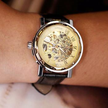 Mechaniczne zegarki na rękę męskie stylowe mechaniczne zegarki skórzany pasek zegarek zegarki na rękę wodoodporny zegar tanie i dobre opinie Meboyixi Klamra 3Bar Stop Automatyczne self-wiatr 24cm Moda casual