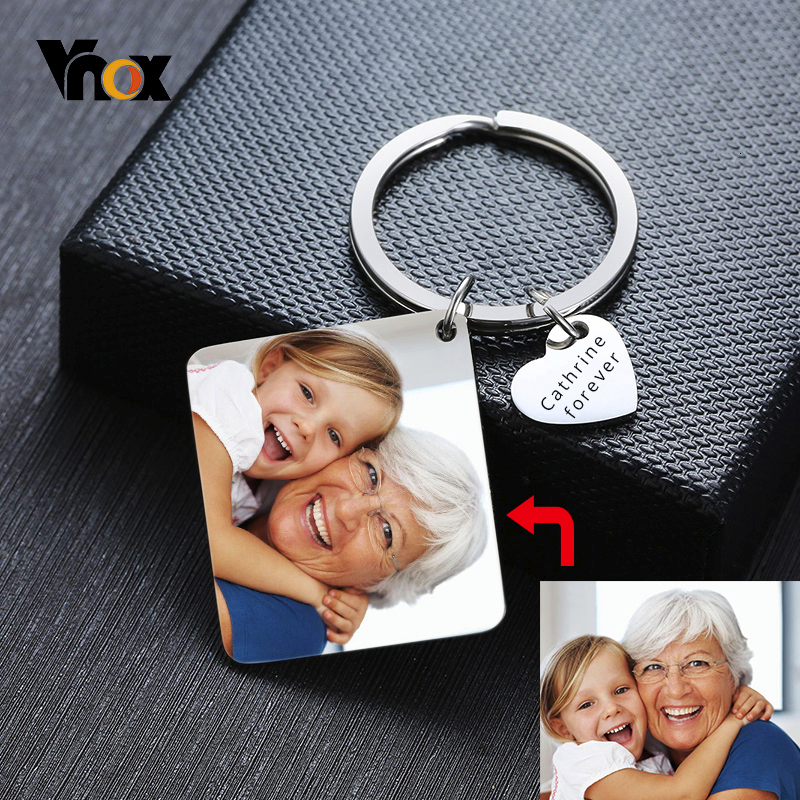 Vnox Customized Key Chain Full Color Photo Personalize Key Chain For Men Women Stainless Steel Jewelry School Badge Wholesale