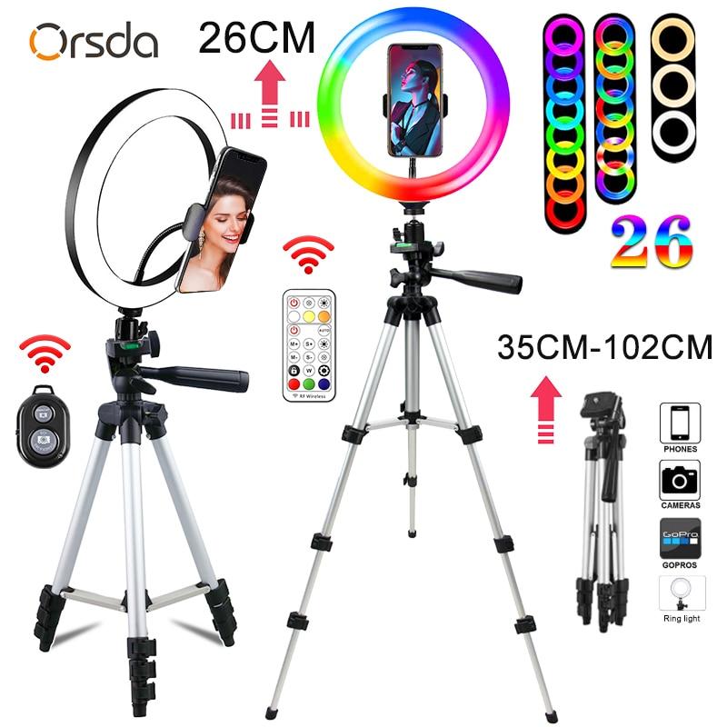 Orsda 6-10 Polegada led pode ser escurecido anel de luz com tripé do telefone móvel talento viver ringlight lâmpada pode ser escurecido para youtube tiktok
