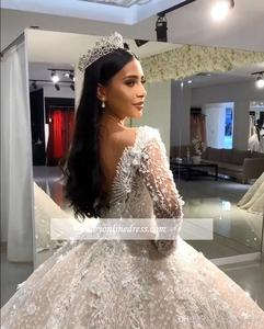 Image 5 - Luxury Beads Ball Gown Wedding Dresses V Neck Sequins Beadings Floral Appliques Long Sleeve Bridal Gown robe de mariee