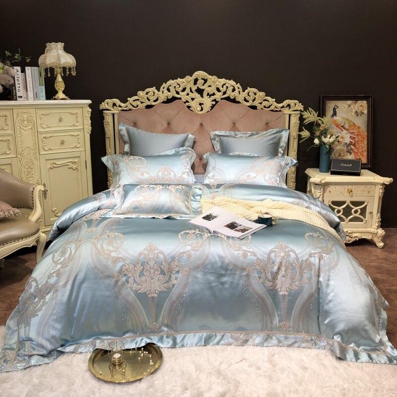 Luxury Silk Satin Bedding Set Queen King Size 4/7Pcs Jacquard Soft Zipper Duvet Cover Egyptian Cotton Bed Sheet Set Pillow Shams