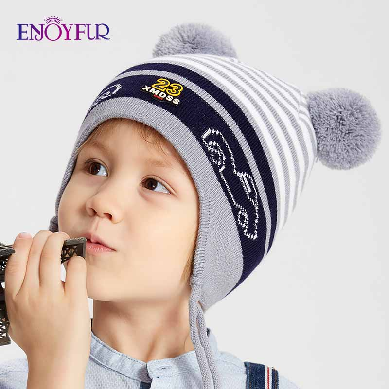 ENJOYFUR Winter Kids Hat With Double Fox Fur Pompom Boys Striped Knitted Ears Cap Thick Warm Cotton Children Beanies For Autumn