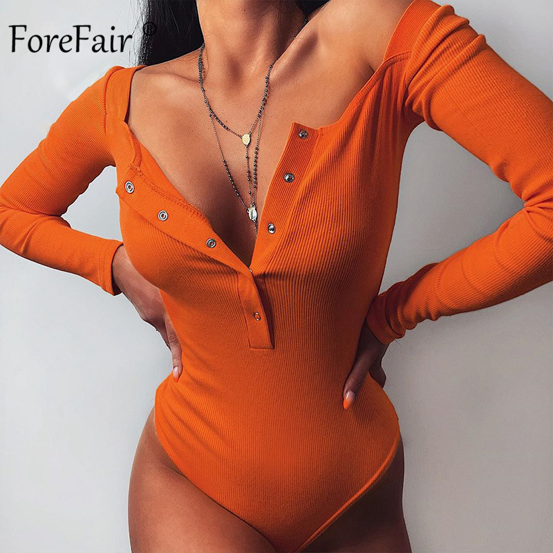 Forefair Summer Women Streetwear Bodysuit Ribbed Knitted Bottons Solid Night Club Long Sleeve Skinny Casual One-Pieces Bodysuit