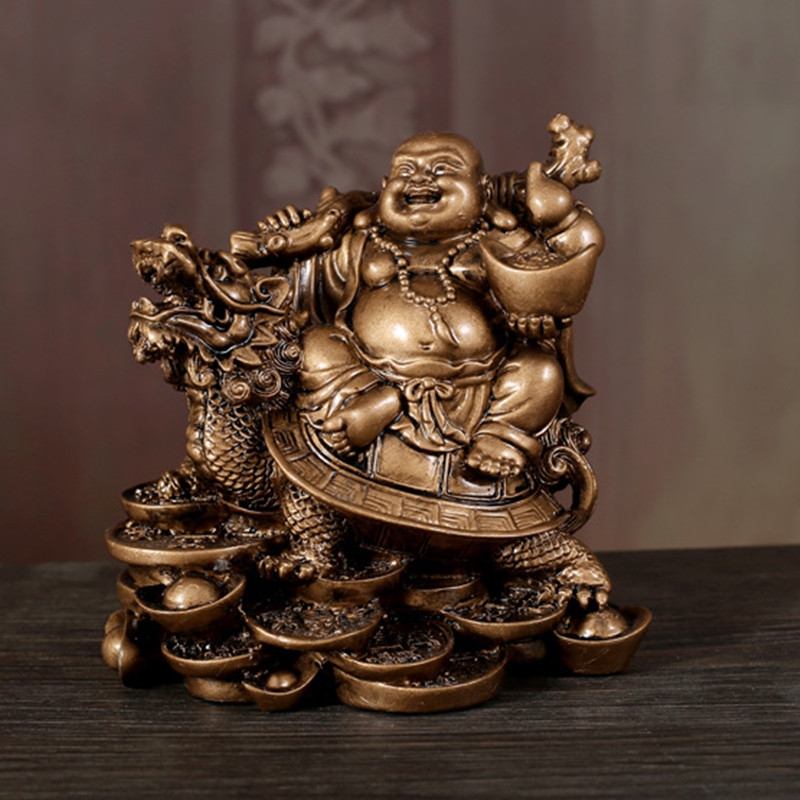 Laughing Buddha Statue Chinese Feng Shui Money Maitreya Buddha Sculpture Figurines Ornaments Gift For Home Decoration QDD9848