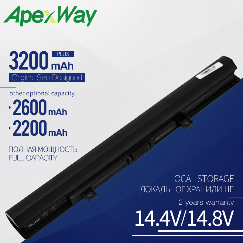 Apexway 4 Cells PA5185U L50-B <font><b>C55</b></font>-B5200 PA5185U-1BRS Laptop <font><b>Battery</b></font> PA5186U-1BRS For <font><b>Toshiba</b></font> <font><b>Satellite</b></font> C50-B-14D L55-B5267 image