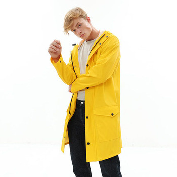 Fashion Raincoat Women Men Rain Waterproof  Outdoor Knee Length Rainwear Travel Clothes Raincoat Poncho Hooded Rain Gear B70
