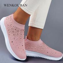 Damskie skarpety trampki 2020 modne Bling damskie buty wulkanizowane Casual damskie wsuwane buty buty wsuwane damskie trenerzy Tenis Feminino tanie tanio WENKOUBAN Mesh (air mesh) Stałe Dla dorosłych NONE Wiosna jesień Niska (1 cm-3 cm) Slip-on Pasuje prawda na wymiar weź swój normalny rozmiar