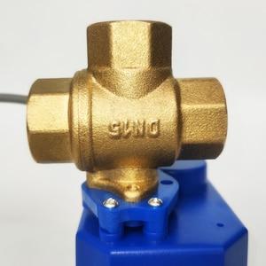 """Image 5 - 1/2 """"AC/DC9 24V 3 דרך ממונע שסתום T נמל, 2 חוטים (CR04), DN15 חשמלי כדור valve כיבוי לחזור"""