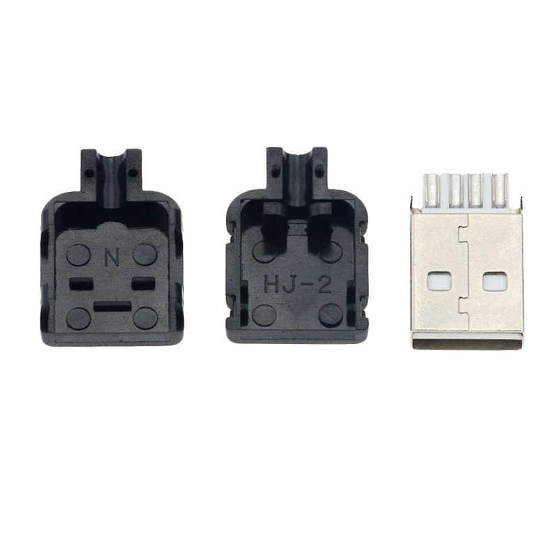 10 шт. DIY USB 2,0 разъем тип A Мужской 4 палец в сборе адаптер спаяное гнездо Тип Черный Пластиковый корпус для подключения данных