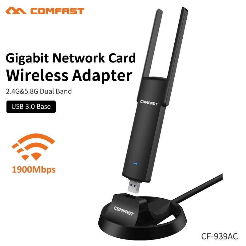 Comfast AC 939AC Dual Band 2.4Ghz//5.8Ghz 1900mbps Usb Wifi Adapter w//Antenna
