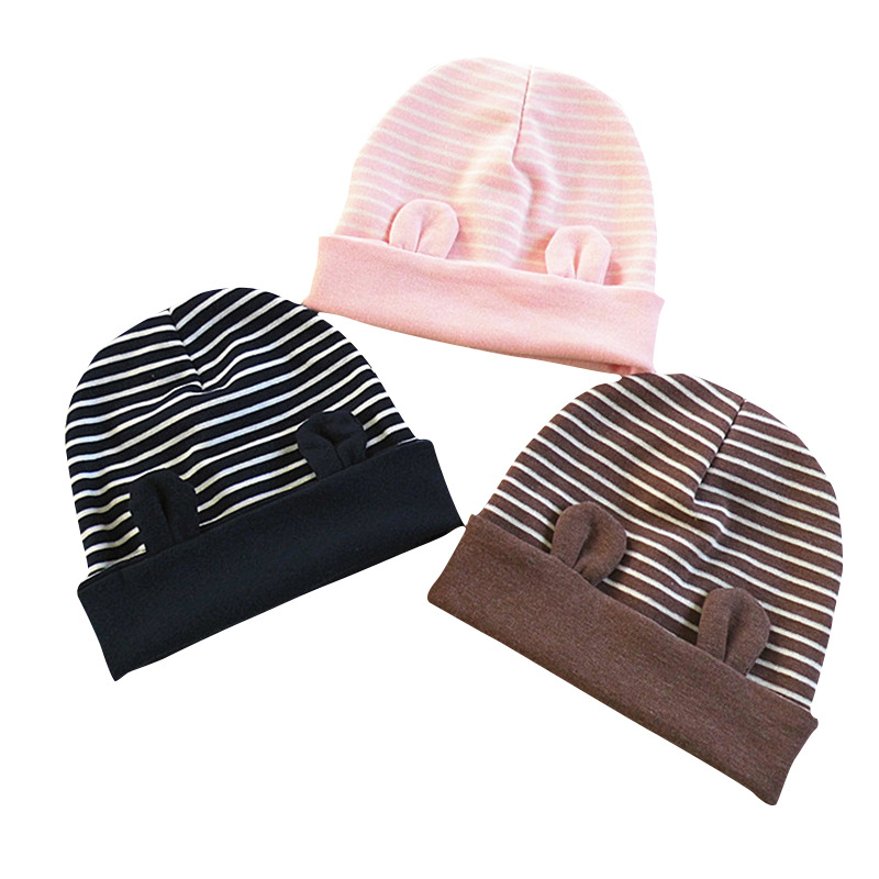New Style Korean Ear Children's Beanie Hat Dome Stripe Winter Hats For Boys And Girls Cute Cartoon Style Baby Hat Newborn Caps