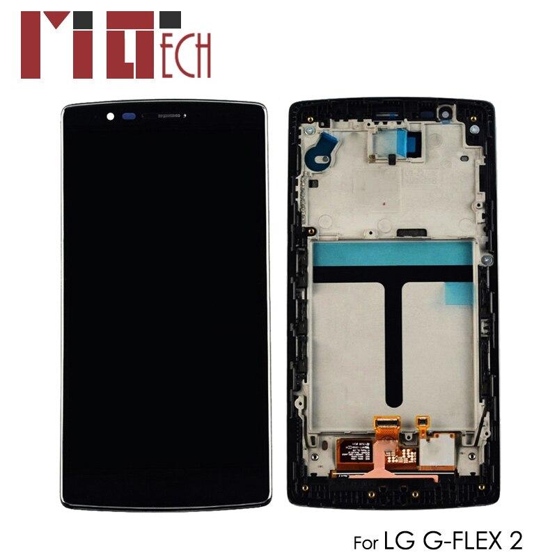 Affichage LCD Pour LG G Flex 2 H950 H955 LS996 H955A G-flex 2 LCD Écran Tactile Numériseur Assemblée Complète De Remplacement Noir avec Cadre