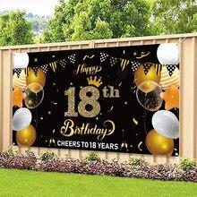 Szczęśliwy 18 urodziny tło Banner okrzyki do 18 lat banery w tle dekory zaopatrzenie firm kryty odkryty foto budka rekwizyty