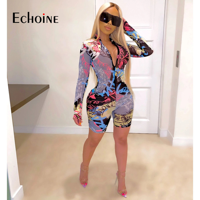 Echoine Tie-Dye print Women zipper up bodycon skinny short Jumpsuit Romper Fitness Sexy Night Party playsuit One Piece Outfit 1