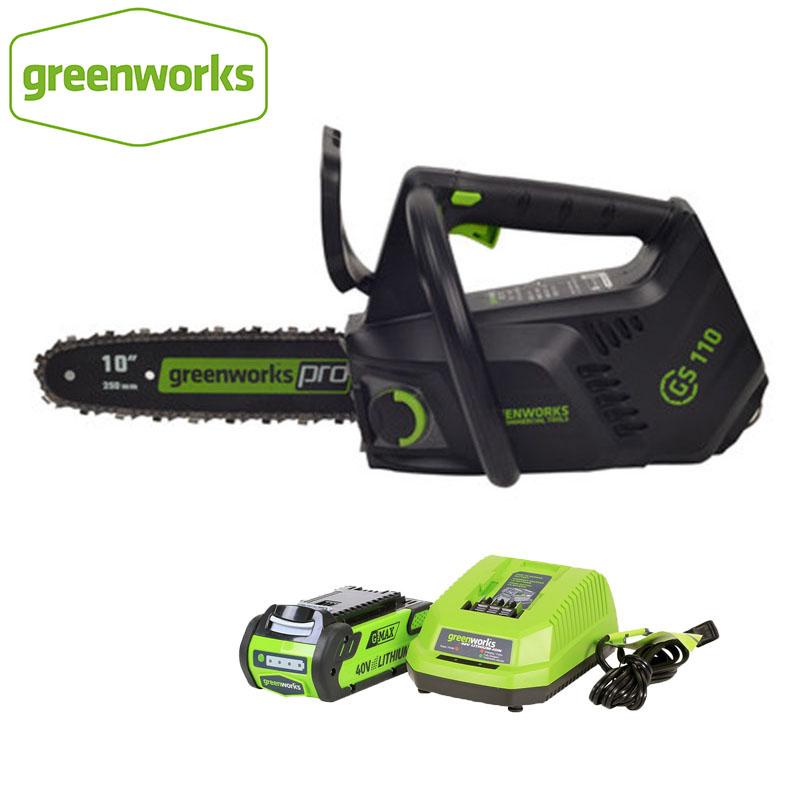 New Greenworks 40v Cordless Chain Saw Brushless ONE HAND Operate Chainsaw 10 Inch Guide Bar