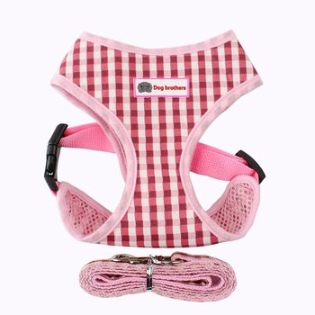 Breathable plaid pet chest straps Teddy vest puppy chest strap S pink plaid dog collar tag harness leash image