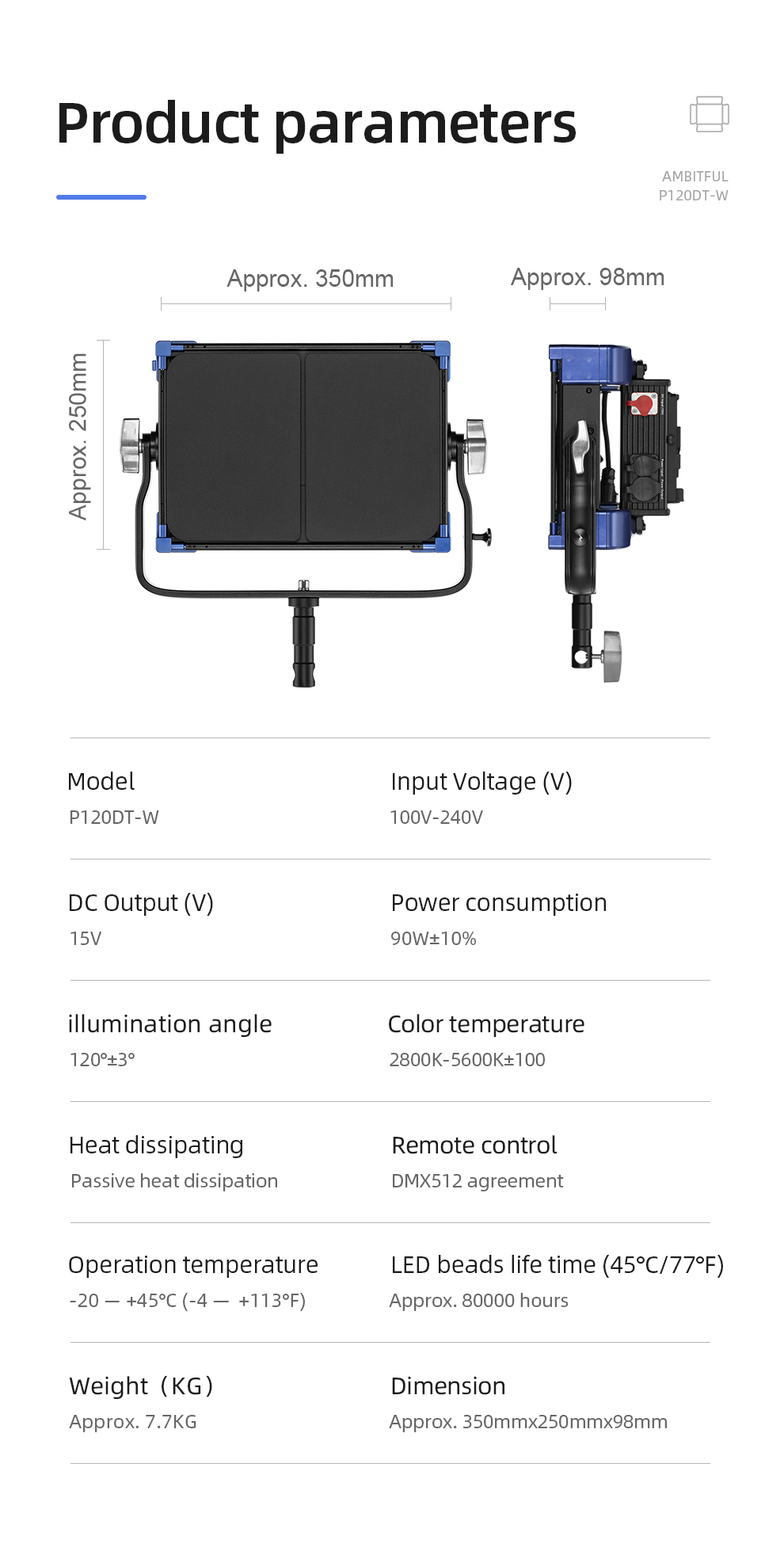 AMBITFUL P120DT-W LED Video Light 90W Bi-Color 2800K-5600K CRI 97 TLCI 99 for News Interview Video Shoting Professional Studio