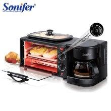 Forno elétrico 3 em 1 café da manhã que faz a máquina multifunções gotejamento máquina de café do agregado familiar pão pizza frigideira torradeira sonifer