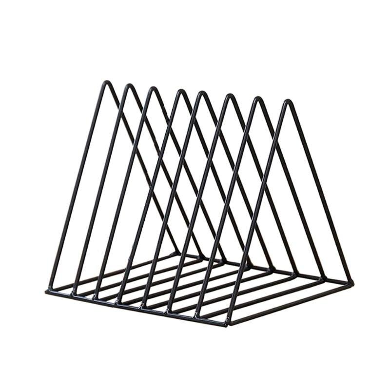Luxury  Iron LP Record Rack Triangle Book Magzine Holder Desk Record Storage Organizer