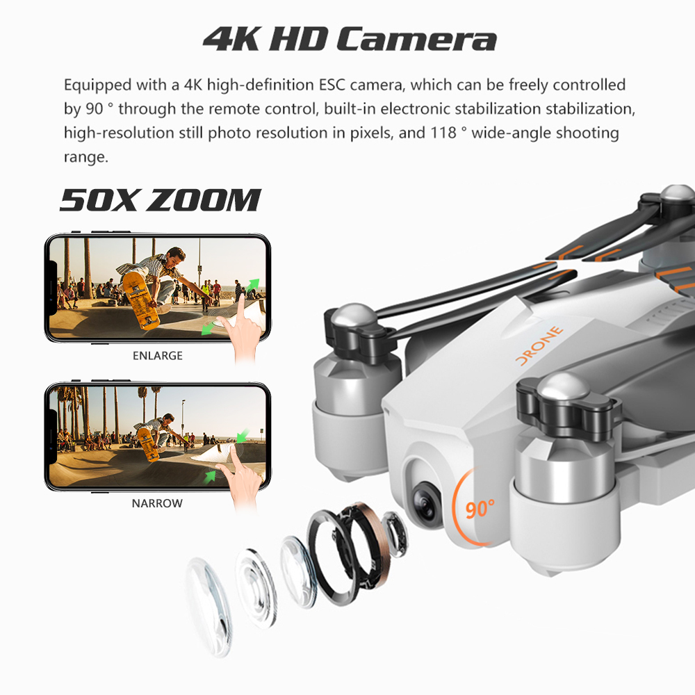 GPS Drone 4K Quadrocopter Follow Me Wifi FPV Long Time Fly Profissional Drones with Camera HD RC Dron VS SG906 K1 E520 F11 PRO 4