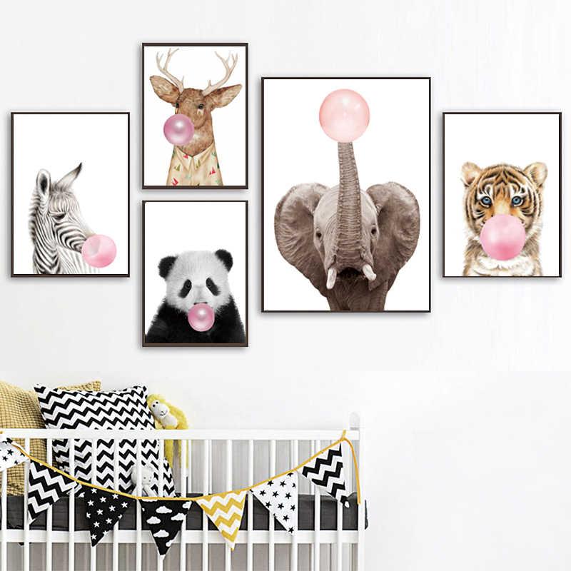 Conisiパンダ動物保育園キャンバスアートポスター壁の写真を印刷キャンバス絵画cuadros quadro子供子供リビングルームのインテリア