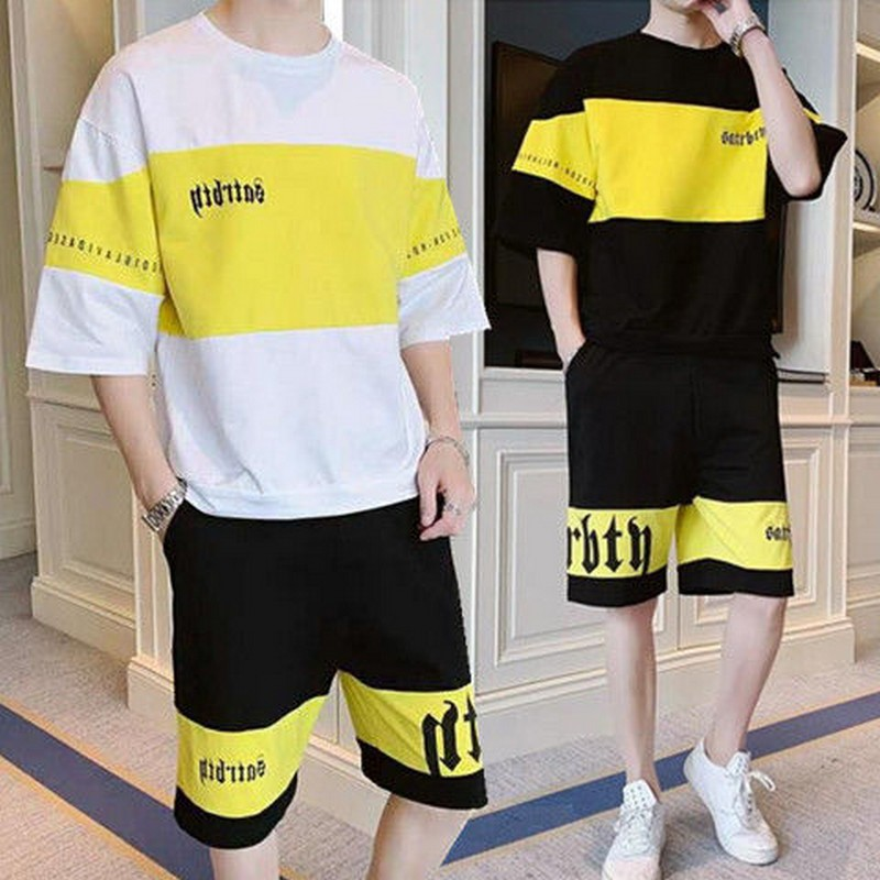 NiceMix 2 Piece Set Tshirt And Shorts Suit Men Loose Tops Clothes Sweatpants Men's Clothing O-neck Summer Two Piece Jogger Sets