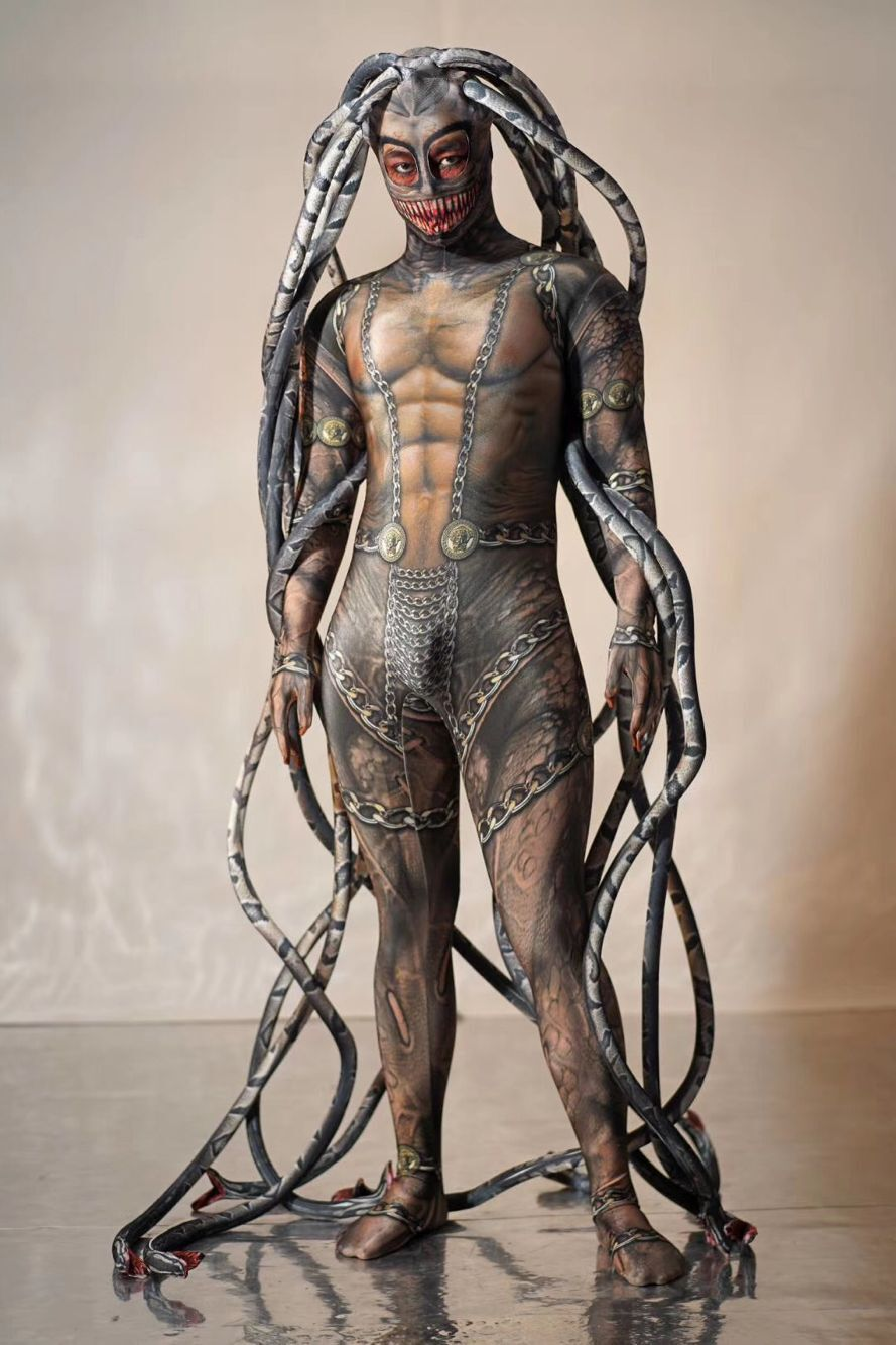 Halloween Party Event Print Alien Snake Costumes Cool Men Medusa Siamese Bodysuit Stage Show Catwalk Model Cosplay Party Suit