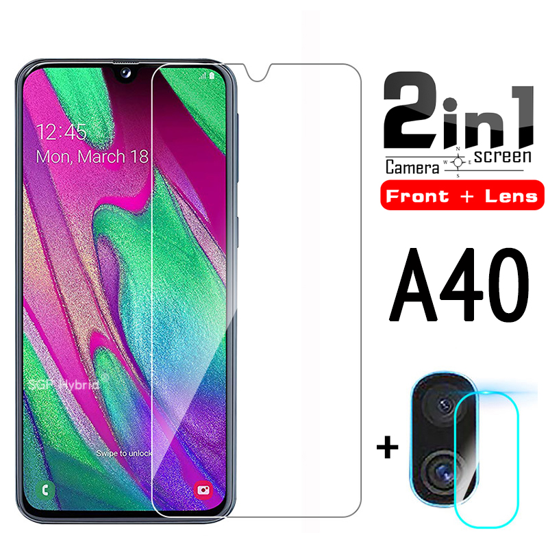 2in1 A40 Screen Protector <font><b>Glass</b></font> & Camera Lens Protetive <font><b>Glass</b></font> For <font><b>Samsung</b></font> samsun A40 a40 <font><b>A</b></font> <font><b>40</b></font> <font><b>a</b></font> <font><b>40</b></font> a4 0 Tempered <font><b>Glass</b></font> image