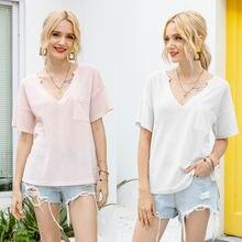 Летняя мода 2020 обычная Однотонная футболка для отдыха Женская
