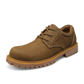 Big Head Shoes Genuine Leather Men's Shoes 2019 Autumn Winter Casual Waterproof Work Shoes British style Lace-up Oxfords