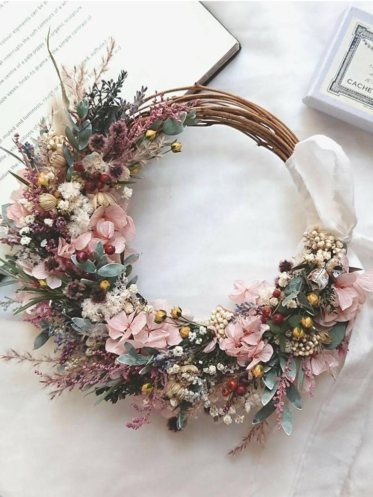 Hoop-Door Wreath Iron-Ring Hanging-Craft Easter Party-Decorations DIY Bamboo/metal 10-40cm