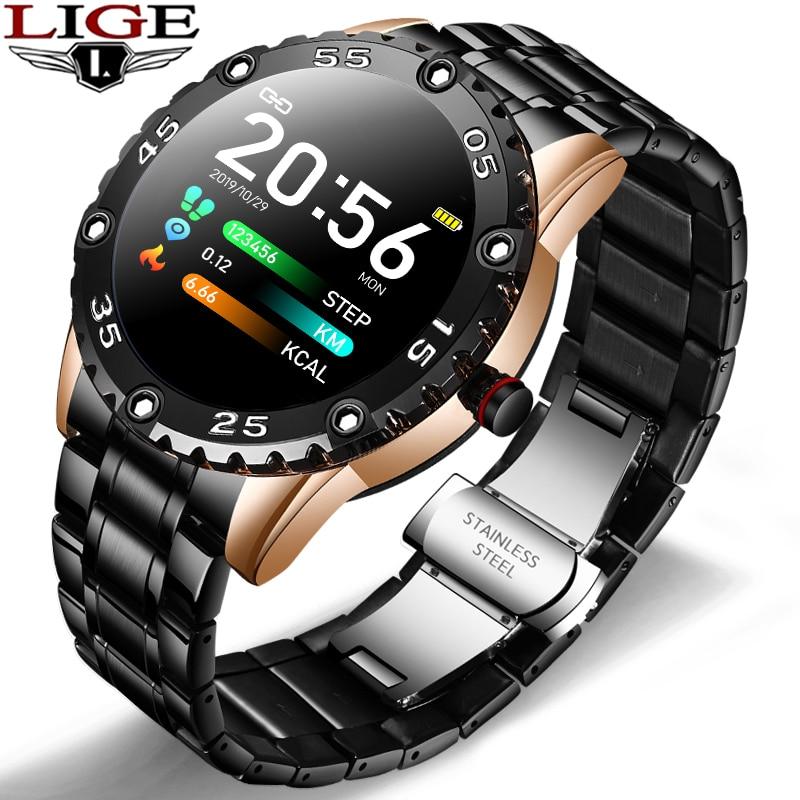 LIGE Новые смарт часы для мужчин IP67 Водонепроницаемый фитнес трекер для измерения сердечного ритма шагомер для Android ios стальной ремешок Спортивные мужские Смарт часы|Смарт-часы|   | АлиЭкспресс