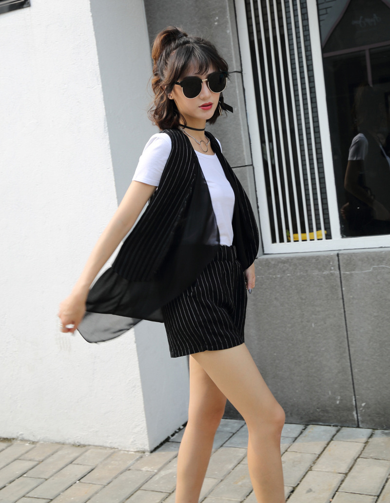 Summer New Style Fashion Korean-style Waistcoat + Cotton Linen Stripes High-waisted Shorts WOMEN'S Suit