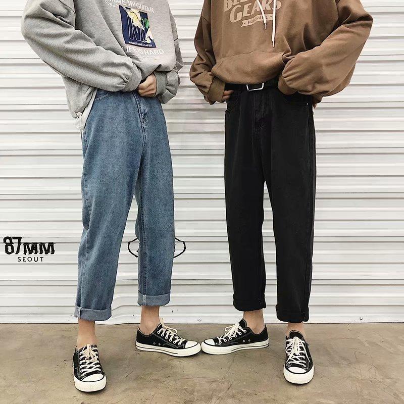 INS Super Fire Straight-Cut Jeans Men's Handsome Casual Pants Korean-style Loose-Fit Capri Pants Summer Versatile Men's Trousers
