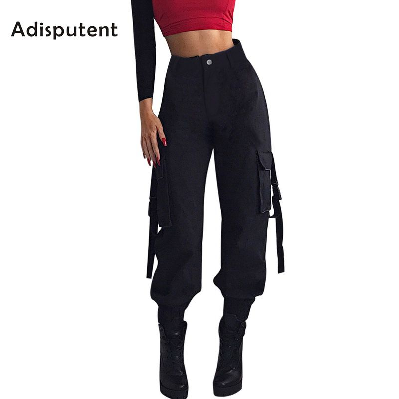 ADISPUTENT Streetwear Cargo   Pants   Women Casual Joggers Black High Waist Loose Female Trousers Korean Style Ladies   Pants     Capri