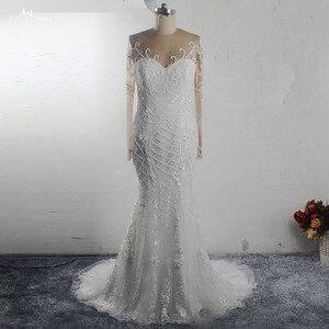 Image 1 - RSW1541 Africa Black Girls Long Sleeves Heavy Beaded Lace Mermaid Wedding Dress