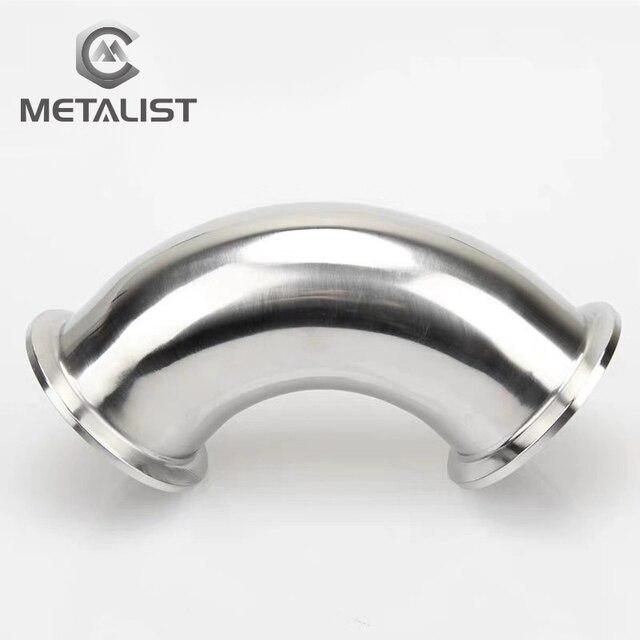 "METALIST Pijp OD 57mm, 63mm Rvs SS304 Sanitaire 90 Graden Elleboog Weld Beentje OD 77.5mm fit 2.5 ""Tri Clamp"