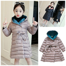 2019 Girl Jacket Winter Children Winter Down Cotton Jacket Girl Clothing Kids Clothes Warm Thick Parka Hooded Long Coats 6-15Y недорого