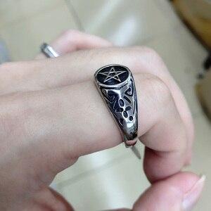 Мужской 2020 Sigil Lucifer Satanic Seal of Satan Baphomet Signet кольцо с пентаграммой языческие украшения для мужчин и женщин